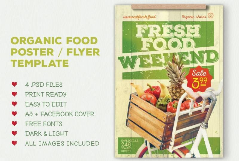 Organic Product Flyer Template PSD