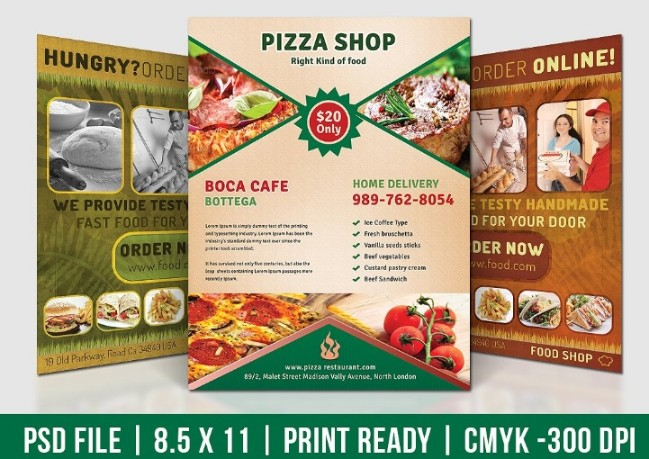 Pizza Shop Flyer Template PSD