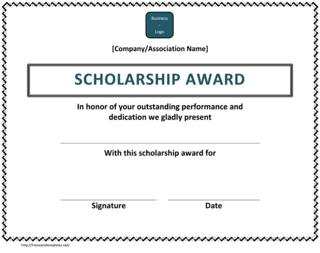Scholorship Certificate Template