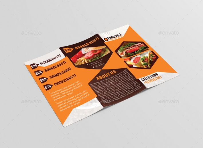 Tri Fold Food Brochure Template