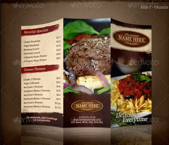 Tri Fold Restaurant Menu Template