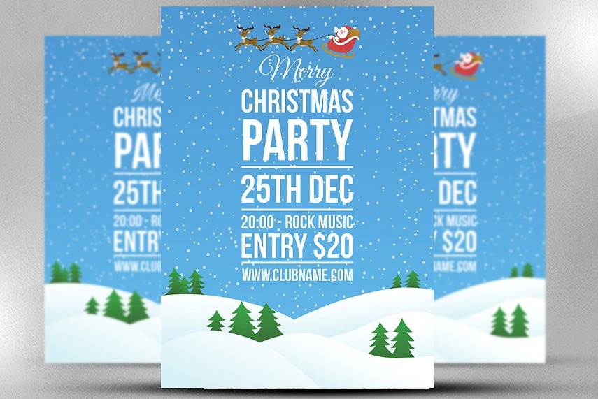 Unique Christamas Party Flyer Template