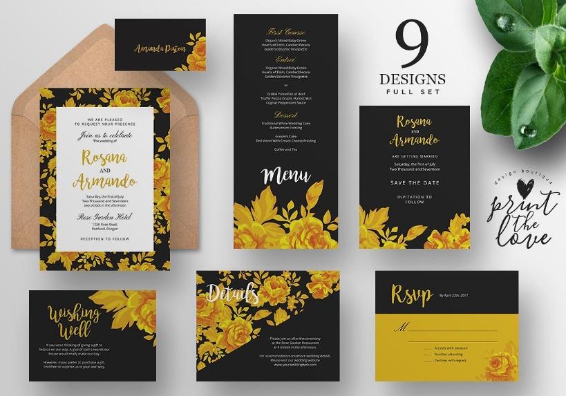 Wedding Invitation Suite Template