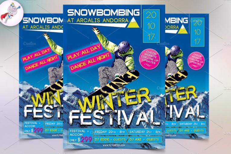 Winter Sports Flyer Template PSD