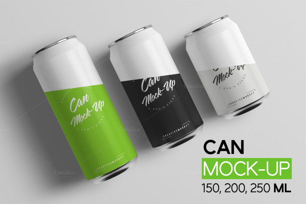 Can mockup beer bottle mockups psd template logo