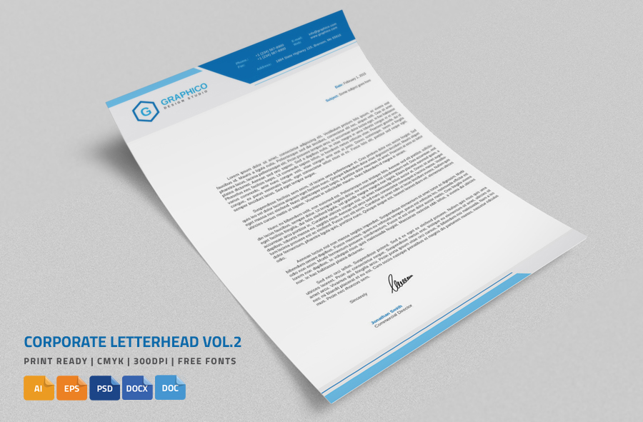 20 professional company letter head templates graphic cloud for Microsoft word graphic design