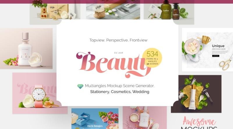 Beauty Cosmetics Products Mockup beauty cosmetic bottle mockup package mockup bag paper