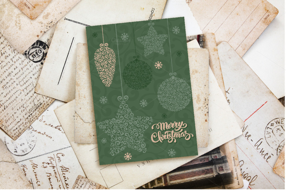 merry christmas post card mockups psd templates envelope cover mockup