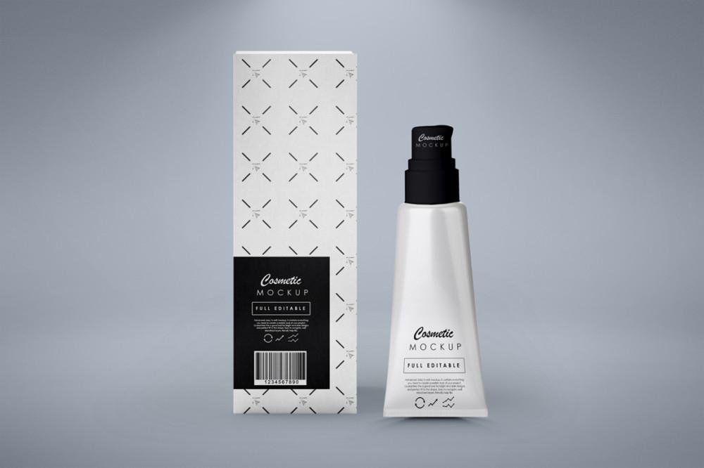 cosmetic branding package mockup white bottle mockup