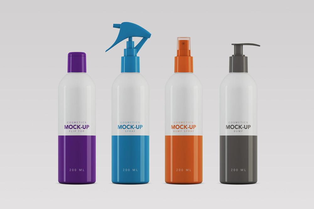 group_frasco_pump_colorful bottle mockup cosmetic branding packaging mockup