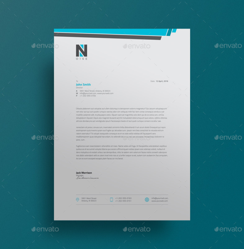 Executive Stationery Letterhead Business Letterhead 8370: 15+ Creative Professional Letterhead Template Word