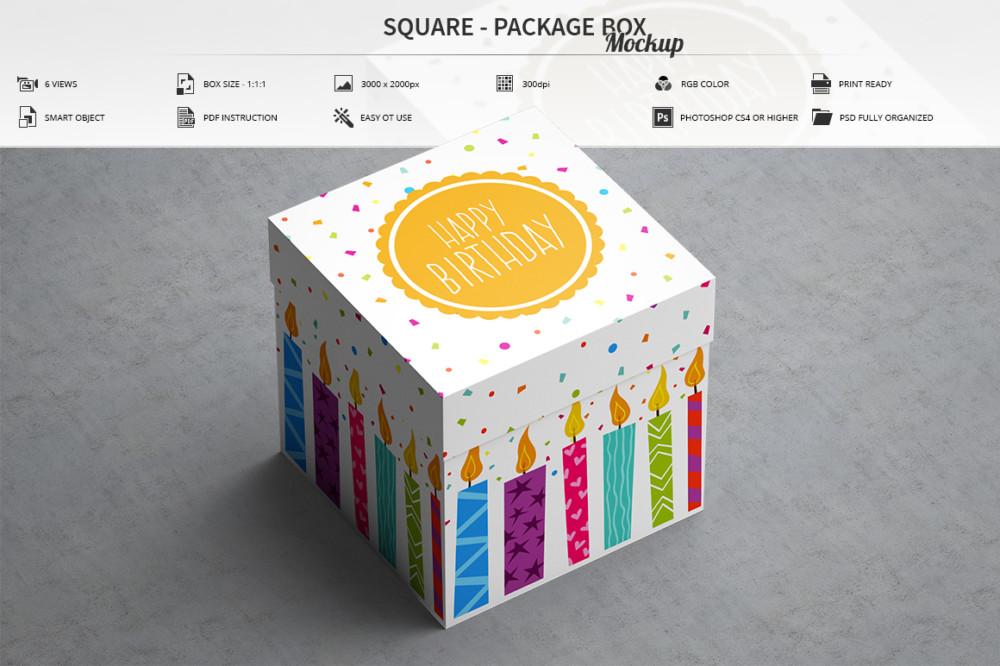 square box packaging mockup cosmetic branding mockup PSD
