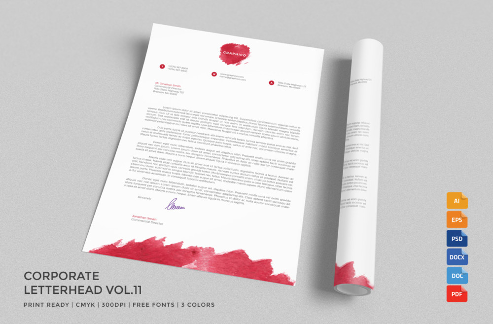 20 Professional Company Letter Head Templates Graphic Cloud