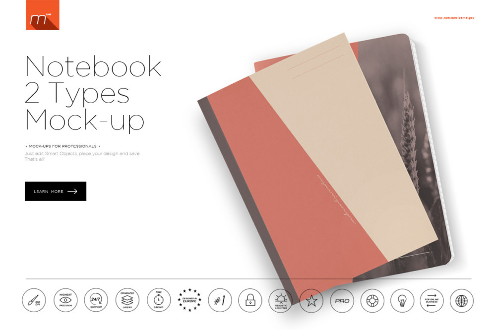 amazing notebook mockup for branding red templet free psd