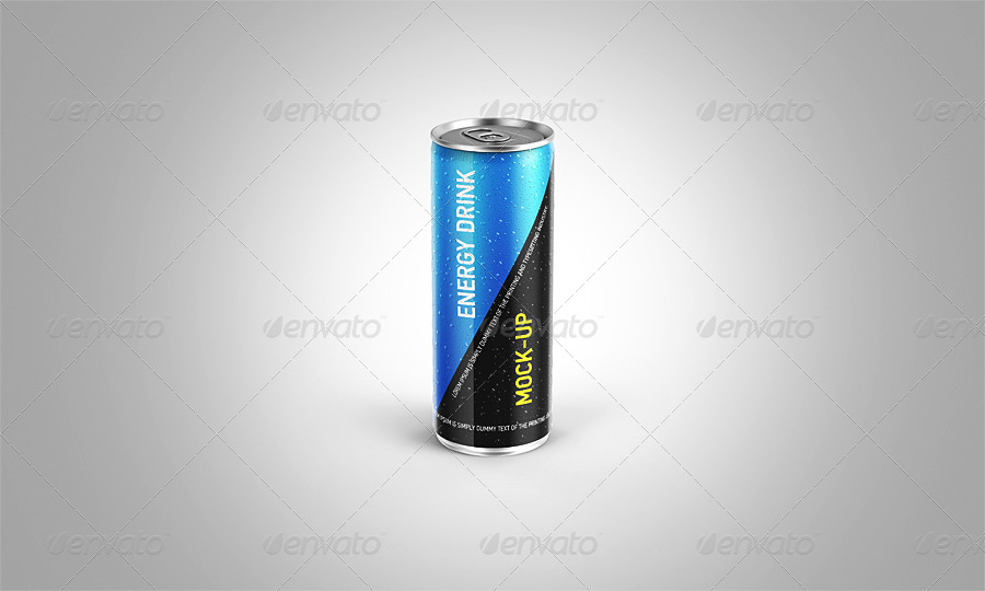BEER can mockup psd free template energy drink bottle