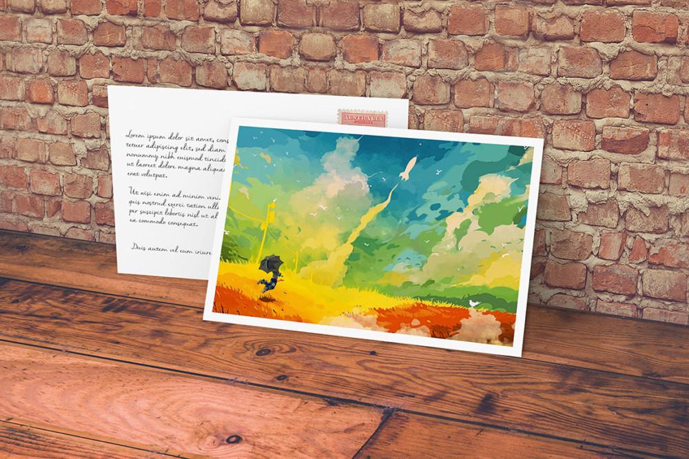 colorful postcard mockup design mockup template psd envelope