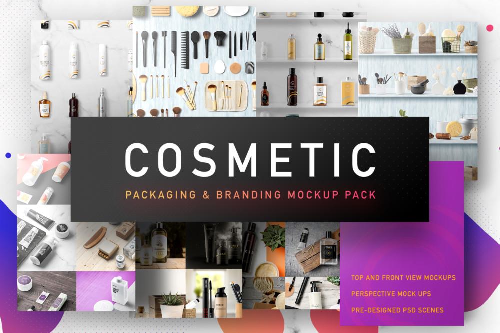 cosmetic-mockup-pack-branding packaging mockup bag PSD
