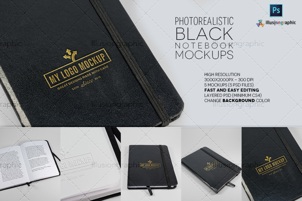 black book mockup notebook mockups psd template