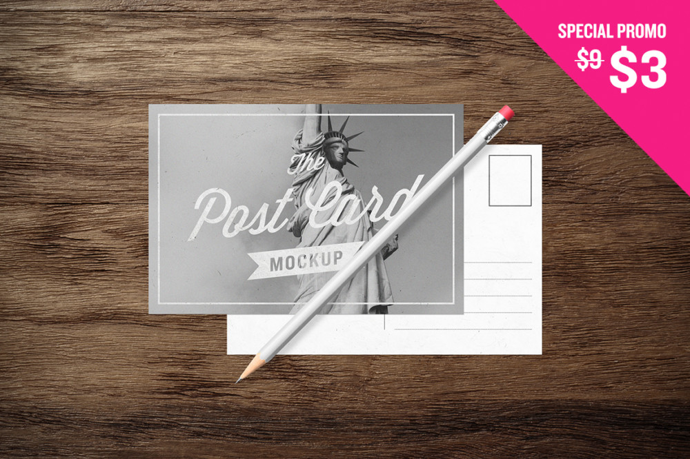 post card mockup mail art lettering brand layout template mockup psd