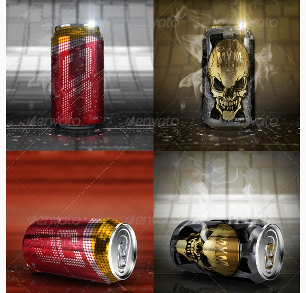 realistic can mockup psd tempalte psd soda beer