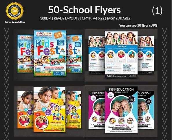 50 School Flyer Template Bundle