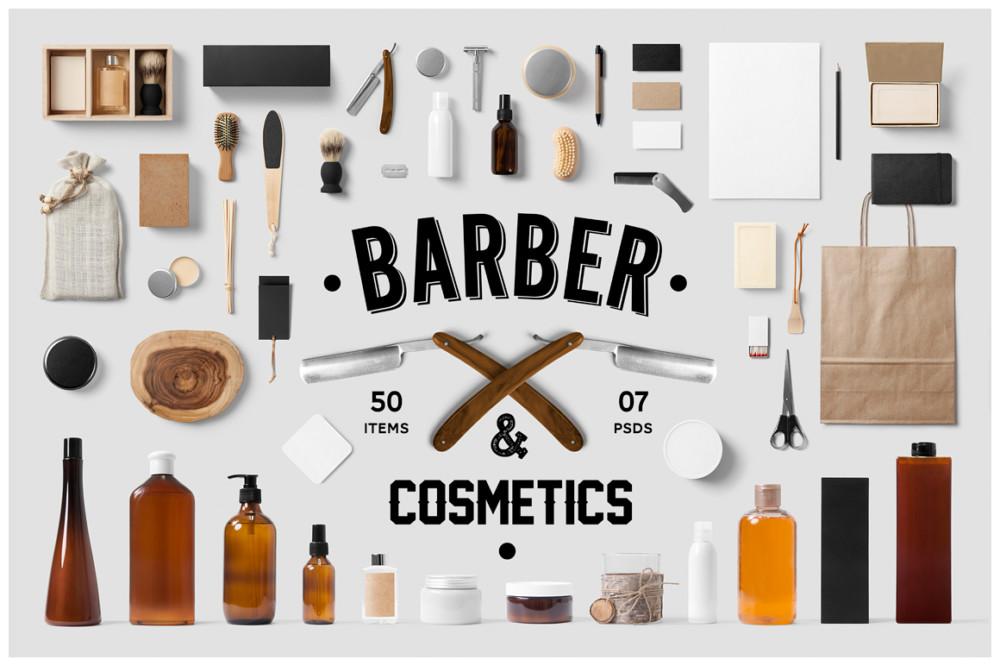 barber-cosmetics-branding-mock-up-packaging mockup PSD bag