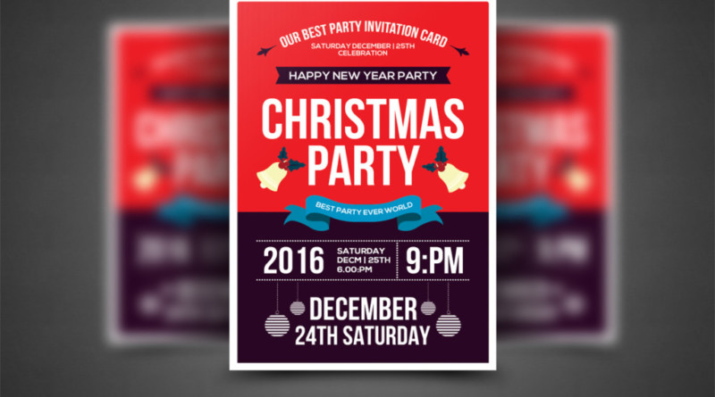 15 Christmas Party Invitation Flyer Templates Graphic Cloud – Holiday Flyer Template Example