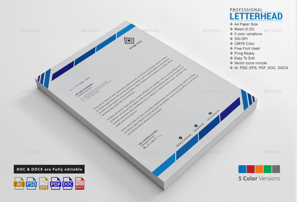 Creative Professional Letterhead Template Word  Graphic Cloud