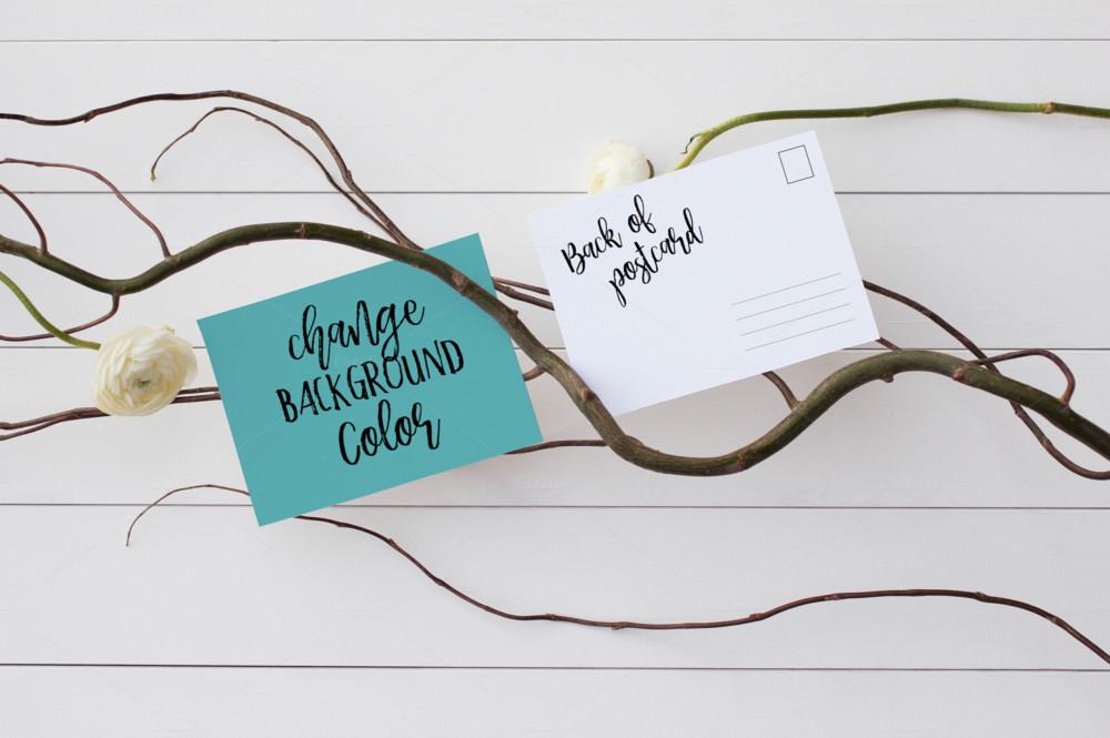 stationery post card mockup psd white wood layered smart object