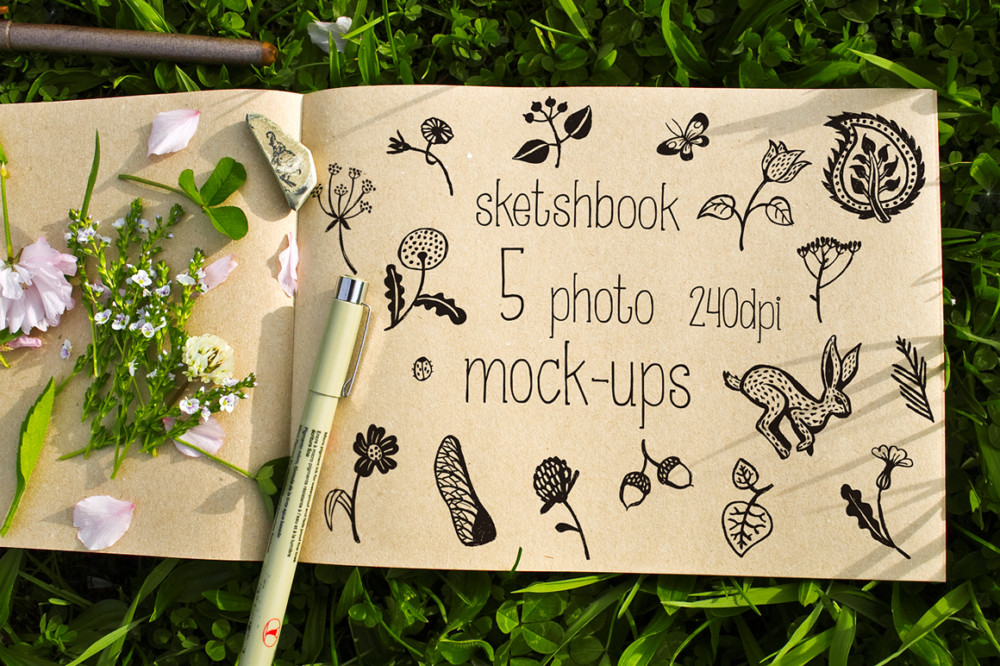 beautiful skecth book mockup wireframe website mockup logo