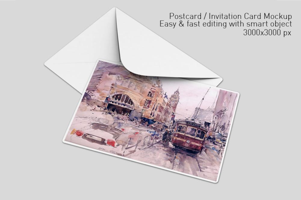 creative-post card invitation mockup psd envelope mockups smart object