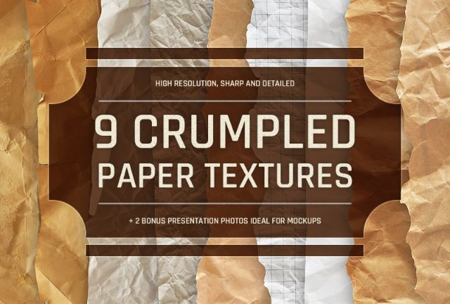 9 Crumpled Paper Textures Pack