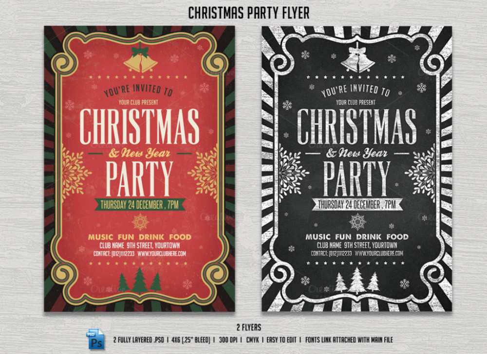 Christmas Party Invitation Flyer Templates  Graphic Cloud