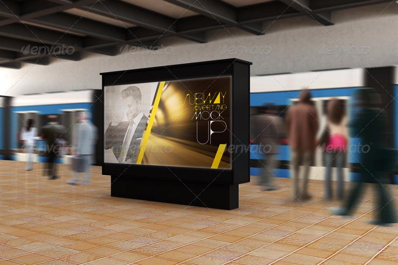 Advertisement Subway Mockup PSD