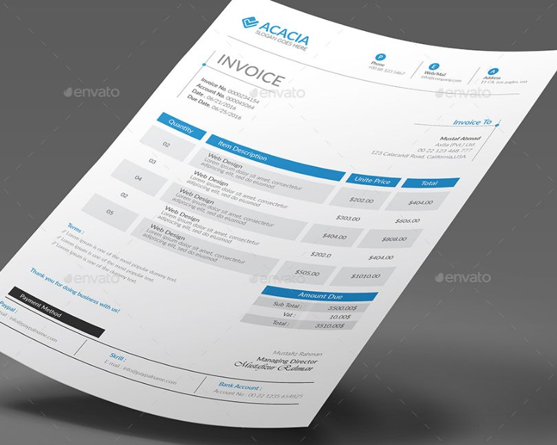 Ai And Eps Invoice Template Graphic Cloud