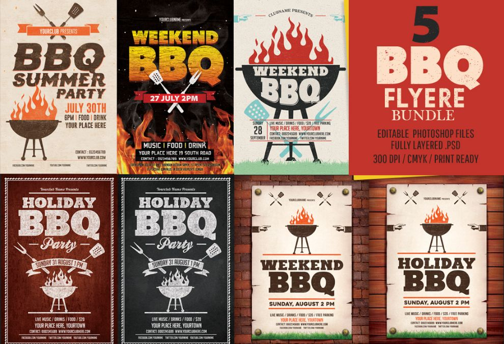 Bbq Flyer Template Psd Eps And Ai Format Download  Graphic Cloud
