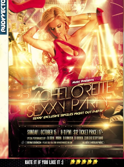 Bacheloratte Party Flyer Template