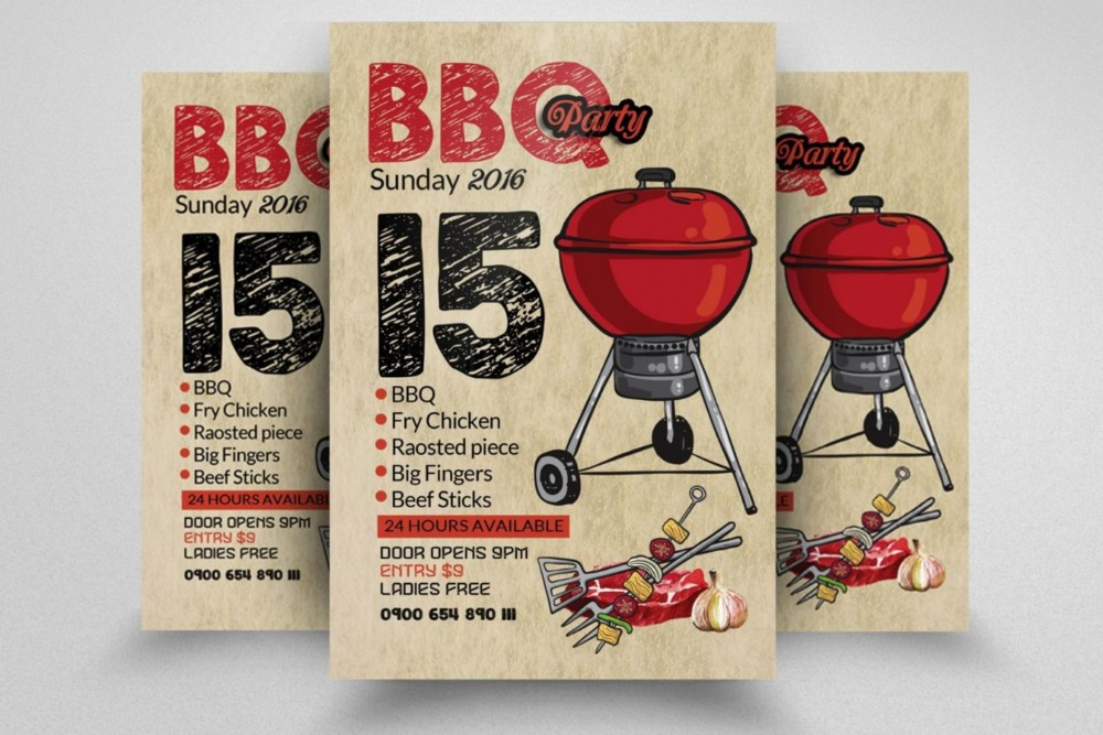 Barbecue Party Flyer Template PSD