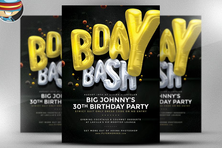 Birthday Bash Flyer Template PSD