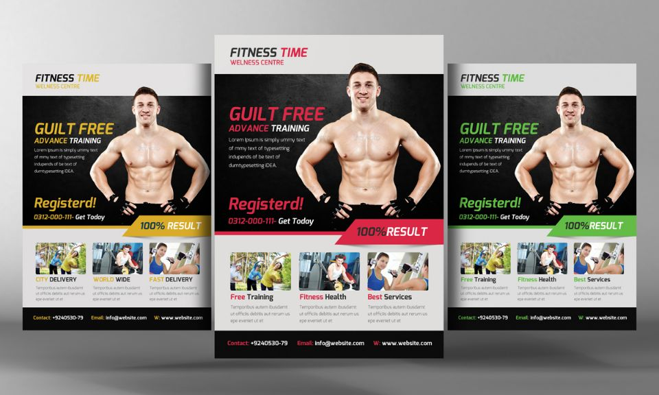 Body Building Flyer Template PSD