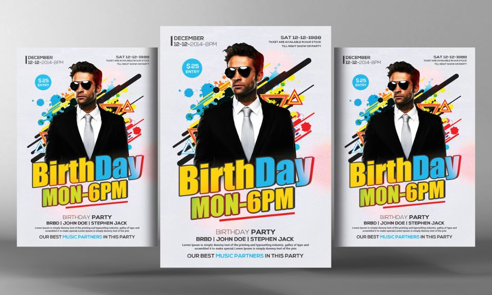 Clean Birthday Event Flyer Template PSD