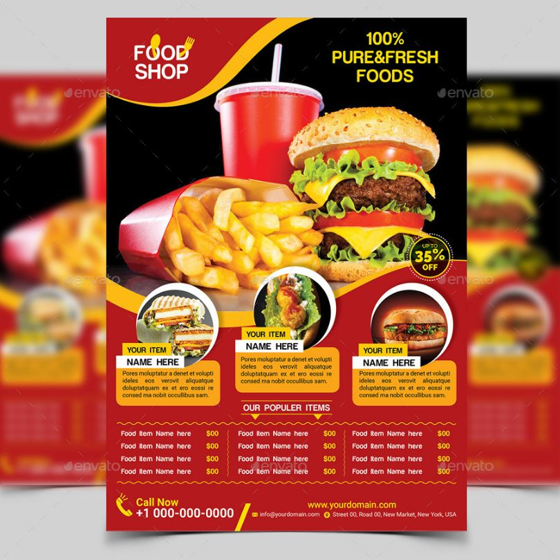 Clean Food Flyer Template PSD