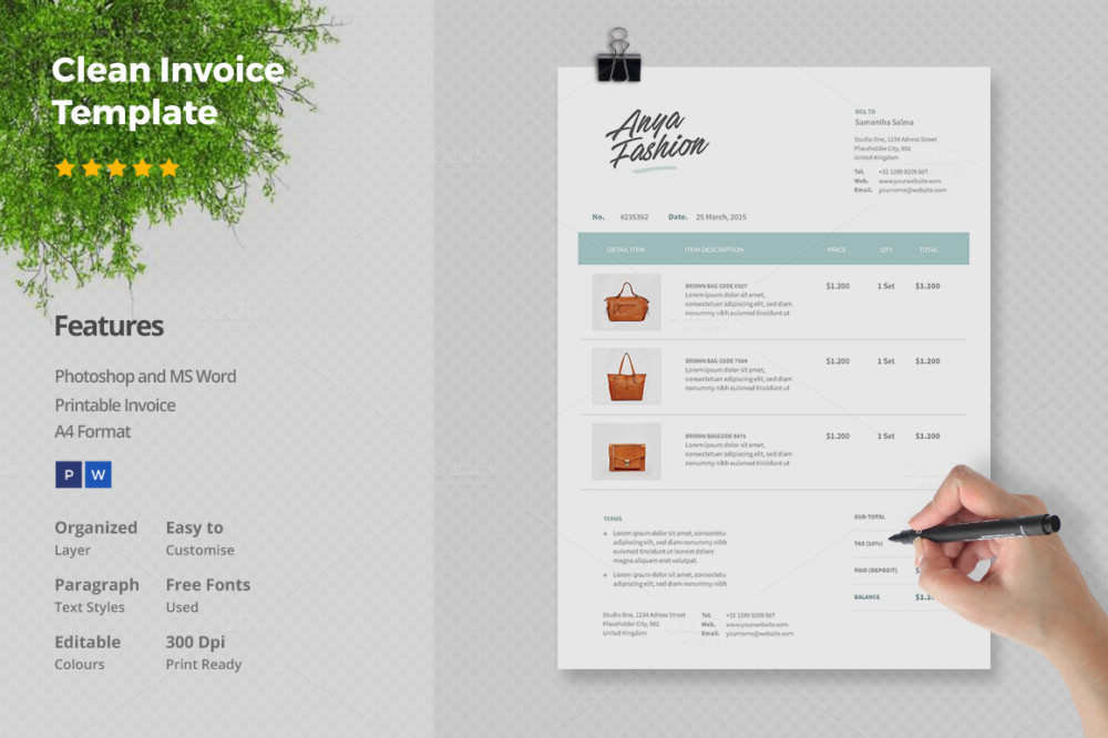 Business Invoice Template Psd Hardhostinfo - Psd invoice template