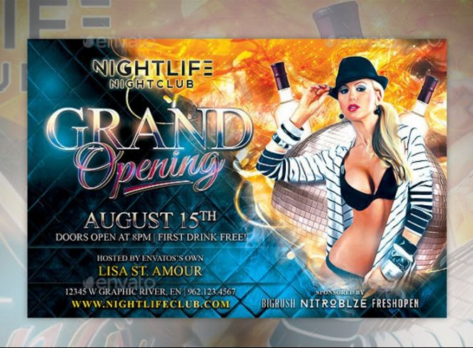 Club Grand Opening Flyer Template PSD