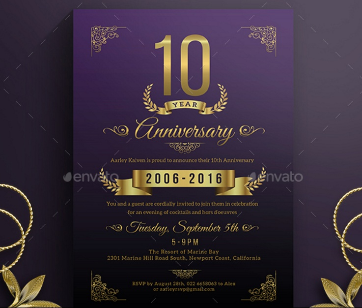 Anniversary Invitation Template For Wedding Birthday And