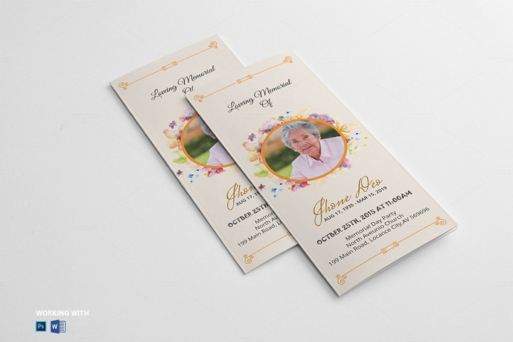 20 funeral brochure template word indesign and psd for Funeral leaflet template