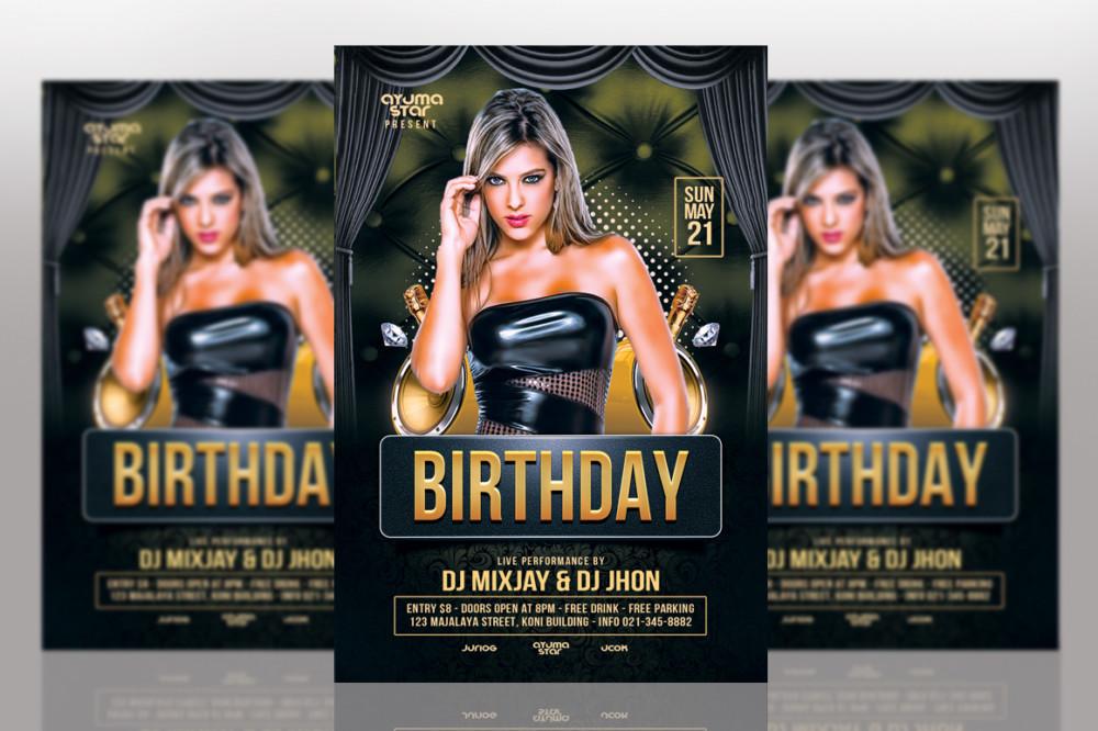 Editable Birthday Flyer Template PSD