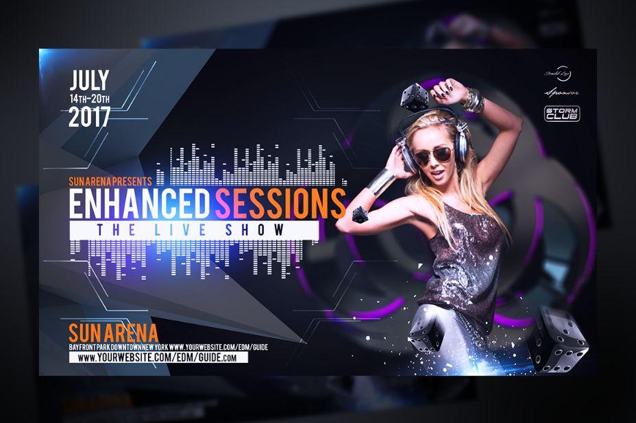 Electro DJ Flyer Template PSD