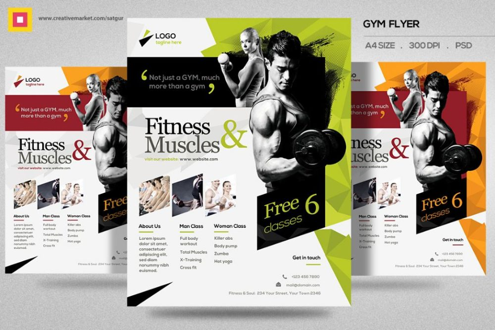 Elegant Fitness Flyer Template PSD