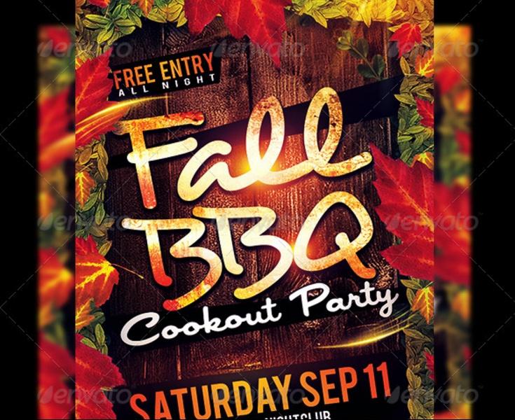 Fall BBQ Flyer Template PSD